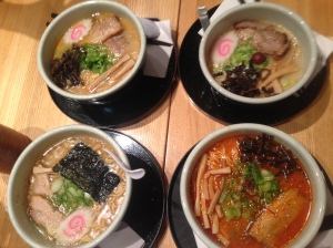 We got all 4 kinds of ramen! Shio, Shoyu, Miso & Kara Miso. (Shay recommended the place and it was amazing! Victor wrote a review which you can check out here)