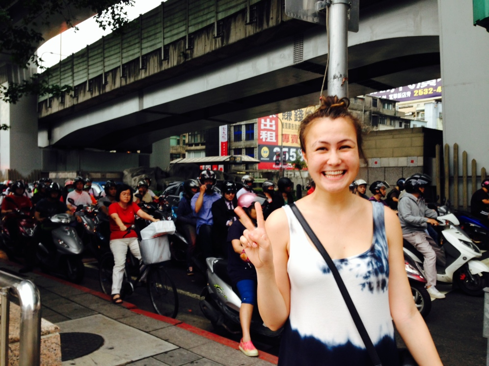 She wanted a picture with all the motorcycles