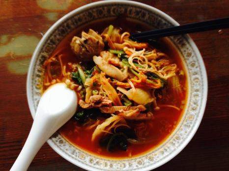 Homemade Kimchi Noodle Soup